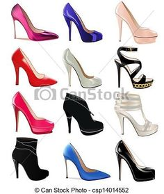 Illustration of illustration set of women's shoes with heels vector art, clipart and stock vectors. Shoe Sketches, Fashion Sketches, Baby Pink Aesthetic, Women's Shoes, Fashion Wall Art, Christian Louboutin, Shoe Clips, Shoe Art, Womens High Heels