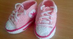 Crochet Baby Booties Baby Sneakers Converse by BeautiWoolTreasures