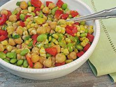 the chef calls it chickpea, corn & red pepper salad with honey-lime vinaigrette. i call it succotash salad for short! yum-oh! Edamame Salad, Mango Salad, Chickpea Salad, Garbanzo Salad, Honey Lime Vinaigrette, Honey Lime Dressing, Chickpea Recipes, Vegetarian Recipes, Vegetarian Food