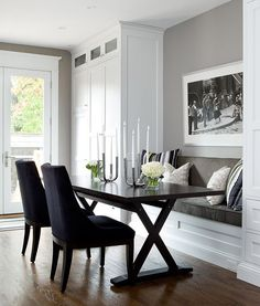 This will make wonderful use of space on the far side of the kitchen, putting the bench underneath the picture window and using the cabinets for extra kitchen storage