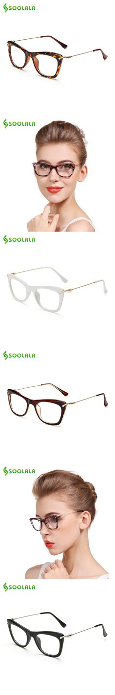 SOOLALA Women's Fashion Designer Cat Eye Eyeglasses Frames with Metal Arms Reading Glasses Women Anti-fatigue Eyewear Oculos
