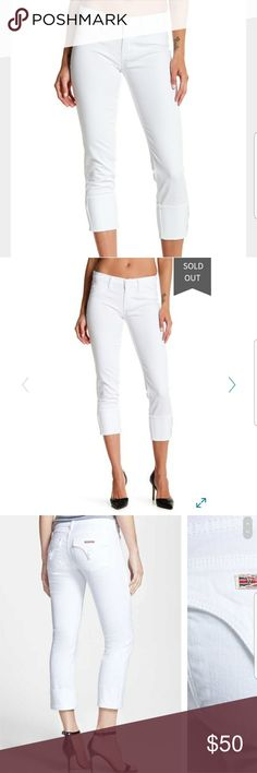 Hudson Jeans Ginny Crop Stretch Skinny White Wash The Ginny crop is an all-time favorite. A straight leg crop with a 5 inch tacked cuff and signature pocket detail. great condition.   98% Cotton, 2% Elastane Made in the USA and Imported Button closure Hudson Jeans Jeans Ankle & Cropped