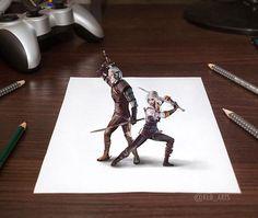 Geralt & Ciri by kld_arts