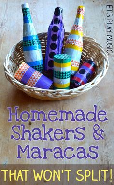 Homemade Musical Instruments : Shakers and Maracas - Let's Play Music - - These DIY shakers and maracas are easy and fun to make and are guaranteed to not split! They are the perfect homemade musical instruments for kids to make! Kids Crafts, Projects For Kids, Diy For Kids, Toddler Crafts, Lets Play Music, Music For Kids, Toddler Music, Children Music, Preschool Music