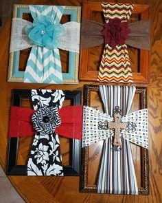 Fabric crosses on thrift store frames. #Woodencrosses