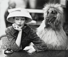 Photo by Richard Avedon, 1955, Cristobal Balenciaga, Dovima in cloche, Café des Deux Magots, Paris.