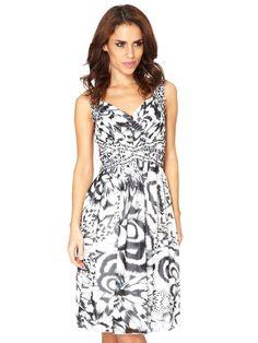 5e26457bdb83 Cream And Black Chiffon Feather Print And Jewel Short Dress
