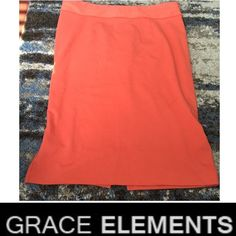 Grace Elements Melon Stretch Pencil Skirt Grace Elements Melon Stretch Pencil Skirt. Size XL. 18.5 in waist laying flat. 27.5 inches long. Worn just a few times. Excellent condition. Unlined. Feel free to make an offer. Grace Elements Skirts Pencil
