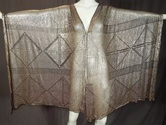 Vintage Art Deco Egyptian Assuit Heavy Completely Covered Silver Studded Shawl