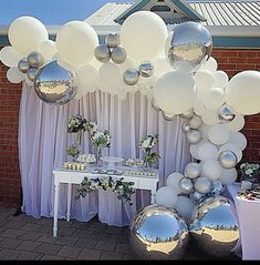 White and silver balloon garland by Stylish Soirees Perth Party Decorations Silver Party Decorations, Balloon Decorations, Birthday Party Decorations, Baby Shower Decorations, 25th Wedding Anniversary, Anniversary Parties, Anniversary Decorations, Silver Anniversary, Ballon Arrangement