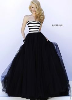 Black and White Striped Ballgown - Sherri Hill 32174