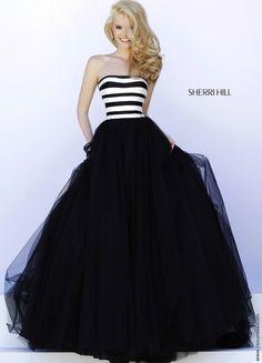 Black and White Striped Ballgown - Sherri Hill 32174
