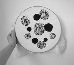 Black dots by Metrode. Angora/wool yarn on natural hemp/cotton.