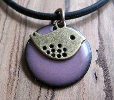Bird Jewelry Bird Necklace Purple Enamel Jewelry by Steinvika, $25.00