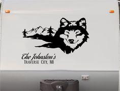 Wolf Wolves Mountains RV Camper Motorhome Decal von StickerChef