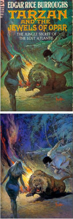 FRANK FRAZETTA - Tarzan and the Jewels of Opar - Edgar Rice Burroughs - 1963 Ace Books F-204 - cover by isfdb - print by erbzine.com
