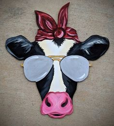 This The Shaded Heifer is just one of the custom, handmade pieces you'll find in our door hangers shops. Wooden Doors, Wooden Signs, Burlap Door Hangers, Owl Door Hangers, Cow Painting, Cow Art, Pintura Country, Wood Cutouts, Art Plastique