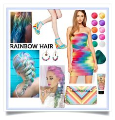 """Rainbow hair #rainbowhair #polyvore"" by francesca-fashiongraphic ❤ liked on Polyvore featuring beauty, Valentino, Mixit, ASOS and Bumble and bumble"