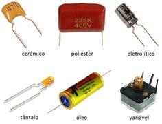 O capacitor é um componente eletrônica que se figura como o mais utilizado sendo capaz de armazenar energia em forma de campo magnético. Electronic Circuit Design, Electronic Parts, Electronic Engineering, Electronics Projects, Electronics Components, Electrical Circuit Diagram, Nicolas Tesla, Arduino, All In One