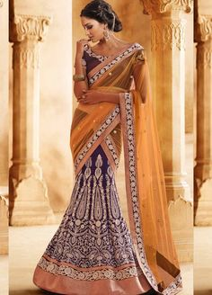 Orange And Blue Bhagalpuri Silk Lehenga Saree