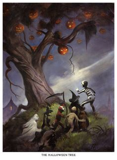 Mike Hoffman Spooky Halloween Trick or Treat Print HALLOWEEN TREE
