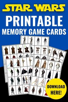 These free printable Star Wars Memory Game Cards are great for playing the classic Concentration game (although you may have called it Matching Pairs, or something else entirely!). featuring lots of Star Wars characters from the movies and series, they are just perfect for Star Wars Day on May the 4th. Just print out the template, cut out the cards and play! Printable Star, Printable Puzzles, Game Cards, Card Games, Party Printables, Free Printables, Concentration Games, Purple Pumpkin, Family Organizer