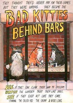 Bad Kitties Cartoon: Bad-Kitties-Behind-Bars Crazy Cat Lady, Crazy Cats, Bad Cats, Bad Kitty, Funny Cats, Funny Animals, Cat Jokes, All About Cats, Cat People