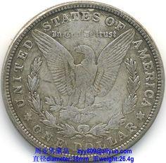 1887 Morgan Silver Dollar - Reverse Legends: Obverse: E·PLURIBUS·UNUM, 1887, Reverse: UNITED STATES OF AMERICA, ONE DOLLAR, In God we trust