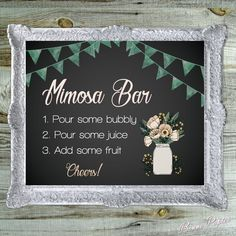 Thank you for viewing the Bonne Papier printable Neutral Floral & Watercolor Chalkboard Mimosa Bar Sign!  Add a little rustic charm to any event with