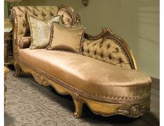So elegant.  Cabriole Legs Supported Deeply Tufted Chaise, 'Parisian' Collection by Benetti's Italia.