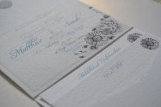 Love these NEW Flower wedding invitations in a pocket fold envelope by Tea & Doilies | Gerbera Invitations