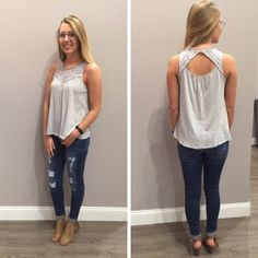 How great does this light grey tank look with a dark pair of skinny jeans? - $40 #newarrival #ootd #spring #springfashion #tanktop #distresseddenim #favorite #apricotlanedesmoines #shoplocal