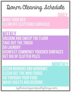 The Ultimate Guide To Cleaning Your Dorm Room - Dorm Cleaning Printable // eyeliner wings and pretty things This easy guide and free dorm cleaning printable will make cleaning your room incredibly quick, easy and organized! College Packing, College Essentials, College Survival, College Planner, Weekly Planner, Survival Tips, Dorm Life, College Life, College Ready