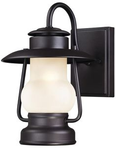 Santa Fe One-Light Outdoor Wall Lantern, Weathered Bronze Finish on Steel with Frosted Glass