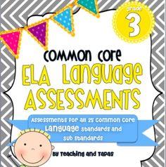 3rd Grade Common Core Language Assessment (ALL 25 ELA Language Standards) - $8.00