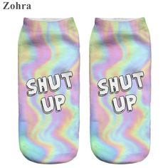Zohra 2016 Cute Neon socks 3D Printing Female socks Women Low Cut Ankle Socks calcetines mujer Casual Hosiery Printed Sock -- Click on the image for additional details.