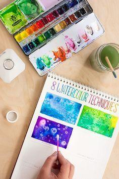 CAJA DE HERRAMIENTAS: 8 Técnicas de Acuarela para #diycraftchallenge #tutorial principiantes #watercolor
