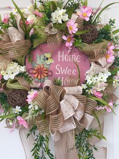 Spring and Summer Burlap Mesh Pastel Wreath by WilliamsFloral on Etsy https://www.etsy.com/listing/229052106/spring-and-summer-burlap-mesh-pastel