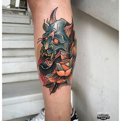 Fresh Neotraditional Color Tattoo From Aber! #neotraditional #neotrad #hanya #mask #color #leg
