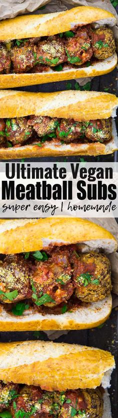 This vegan meatball sub is the ultimate vegan comfort food! If you like vegan sandwiches, you will love this recipe! It makes a great vegan lunch! These vegan meatballs are also great with pasta. Find more vegan recipes at veganheaven.org! <3