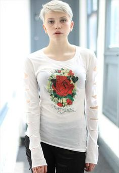White punk grunge slash rose top from Pretty Disturbia