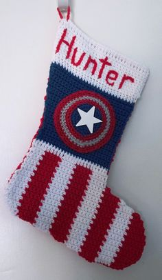 Crochet Patterns Christmas Captain America Crocheted Christmas Stocking by PatternedOnPurpose Crochet For Kids, Diy Crochet, Crochet Crafts, Crochet Ideas, Crochet Shoes, Crochet Dolls, Yarn Crafts, Christmas Crochet Patterns, Holiday Crochet
