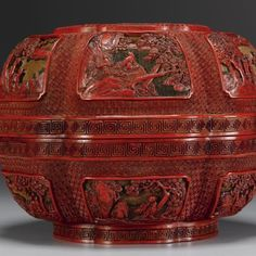 A fine and rare carved polychrome lacquer 'Immortals' box and cover. Qianlong Mark And Period - Sotheby's.