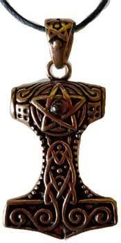 Thor's Hammer With Pentacle & Accent Cabochon: Bronze