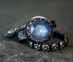 Antiqued Silver Rainbow Moonstone Stacking Set Blue Moonstone