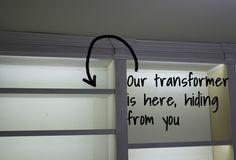 led strip to light book shelf DIY