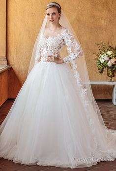 Casablanca spring 2018 long sleeves scoop neckline heavily embellished bodice romantic ball gown a line wedding dress open scoop back chapel train (elsie) mv -- The Spring 2018 Casablanca Bridal Collection is All Kinds of Gorgeous #CasablancaBridal #bridal #wedding #weddingdress #weddinggown #sponsor