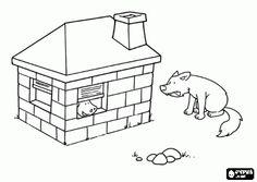 De boze wolf probeert de bakstenen huis slopen en niet, de drie kleine biggetjes zijn veilig binnen kleurplaat