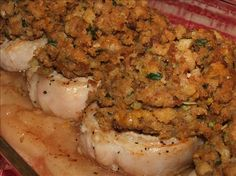Kelly s Apple Pork Chops With Stuffing from Food.com:   This is my fiance's FAVORITE, well one of them at least! EASY to make and to DIE for! Pork chops baked over apple pie filling topped with stuffing?? OH YEAH, it's good stuff maynard!
