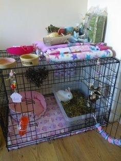 ♥ Pet Rabbit Ideas ♥ Indoor rabbit hutch made from a dog crate w/ cupcake fleece flooring.: